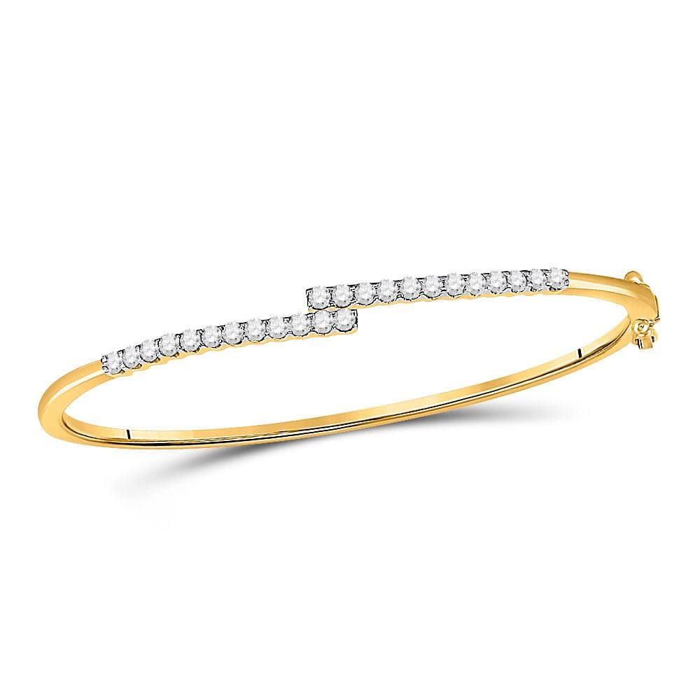 14kt Yellow Gold Womens Round Diamond Bypass Bangle Bracelet 1 Cttw