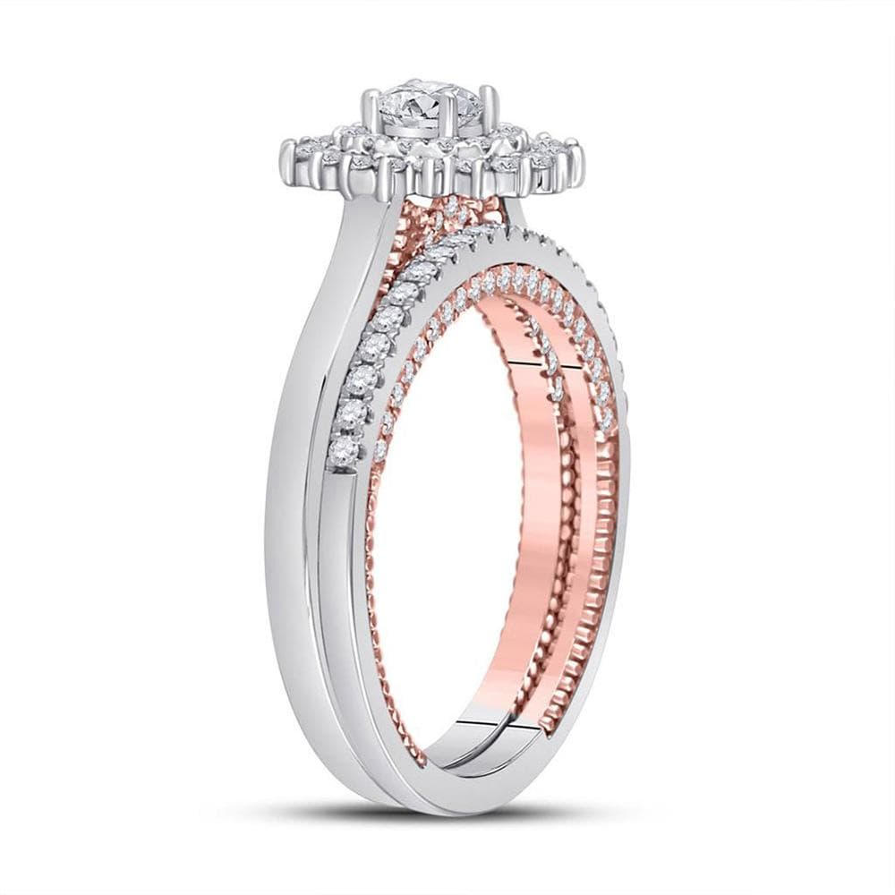 14kt Two-tone Gold Round Diamond Bridal Wedding Ring Band Set 1 Cttw