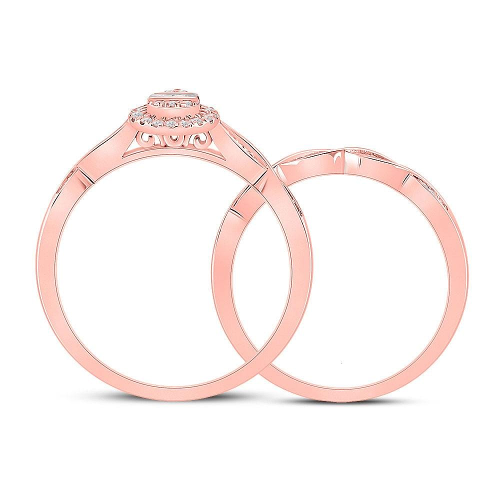 10kt Rose Gold Baguette Diamond Bridal Wedding Ring Band Set 1/5 Cttw