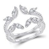 14kt White Gold Womens Round Diamond Wedding Wrap Ring Guard Enhancer 3/4 Cttw