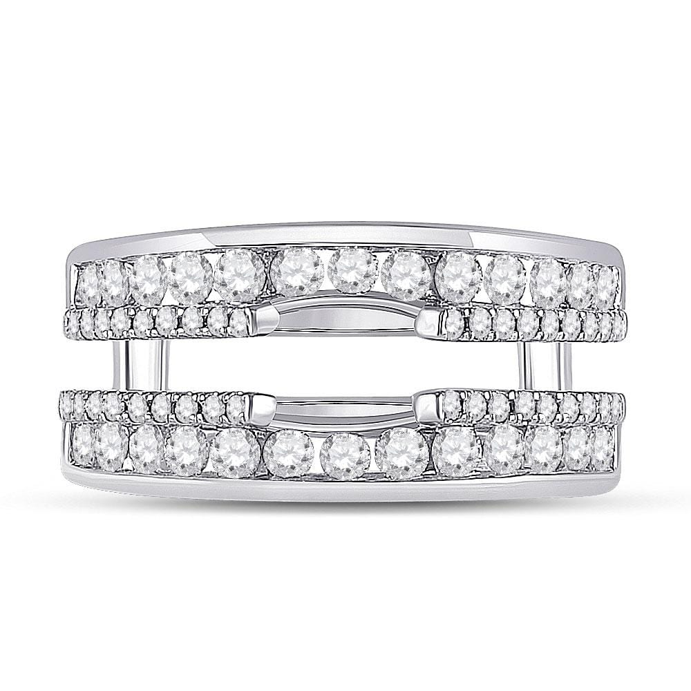 14kt White Gold Womens Round Diamond Wedding Wrap Ring Guard Enhancer 1 Cttw