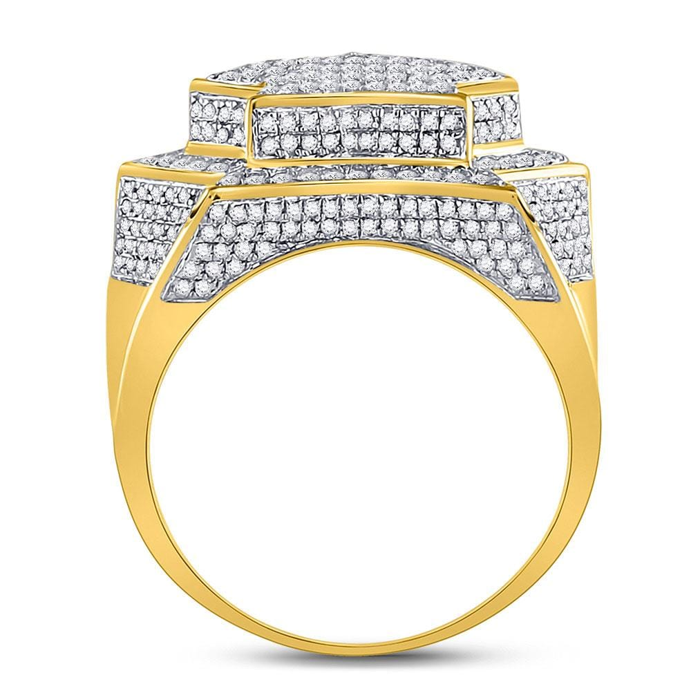 10kt Yellow Gold Mens Round Diamond Star Big Look Cluster Ring 1-3/4 Cttw