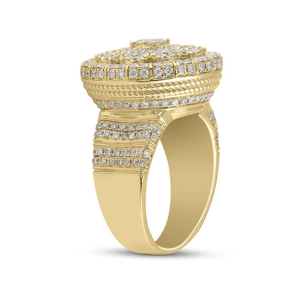 14kt Yellow Gold Mens Round Diamond Statement Cluster Ring 2-5/8 Cttw