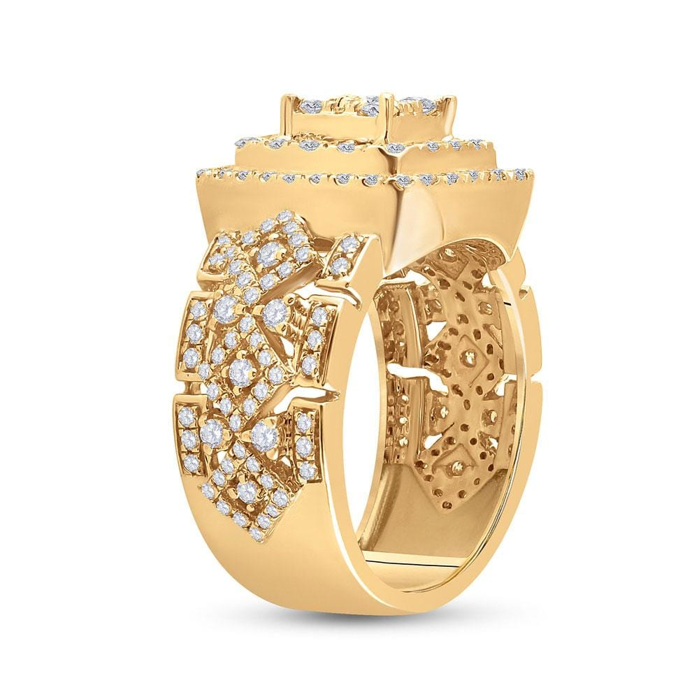 14kt Yellow Gold Mens Round Diamond Square Statement Cluster Ring 2-1/3 Cttw