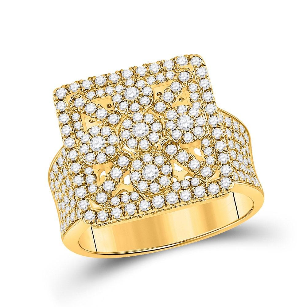 14kt Yellow Gold Mens Round Diamond Square Cluster Ring 2 Cttw