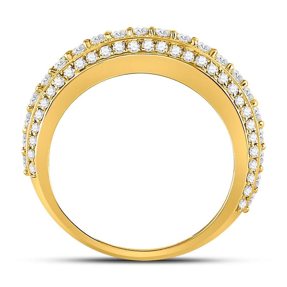 10kt Yellow Gold Mens Round Diamond Statement Band Ring 2-1/2 Cttw