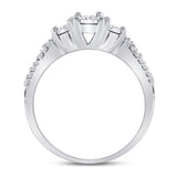 10kt White Gold Womens Round Diamond 3-stone Bridal Wedding Engagement Ring 1/3 Cttw