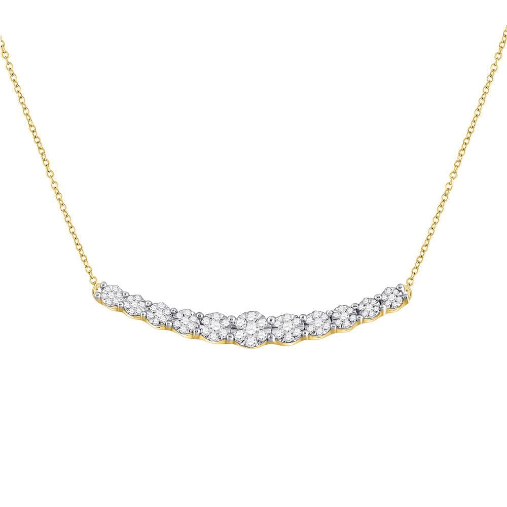 14kt Yellow Gold Womens Round Diamond Curved Graduated Bar Necklace 1/2 Cttw