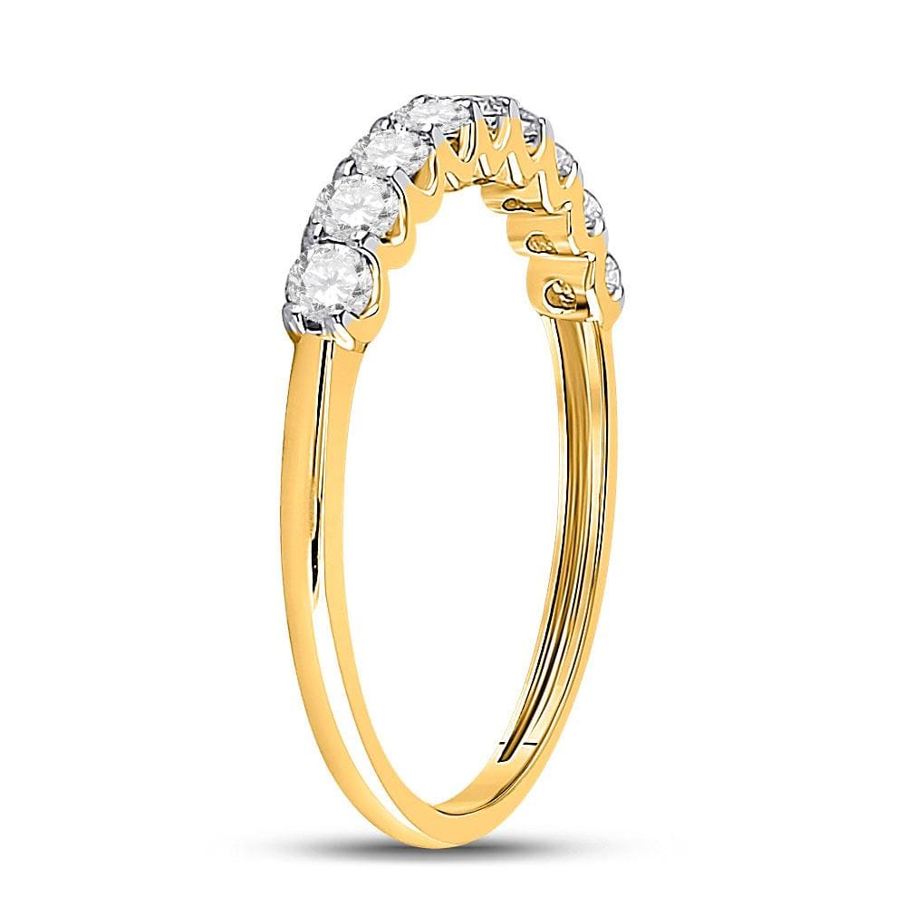 14kt Yellow Gold Womens Round Diamond Single Row Band Ring 1/2 Cttw