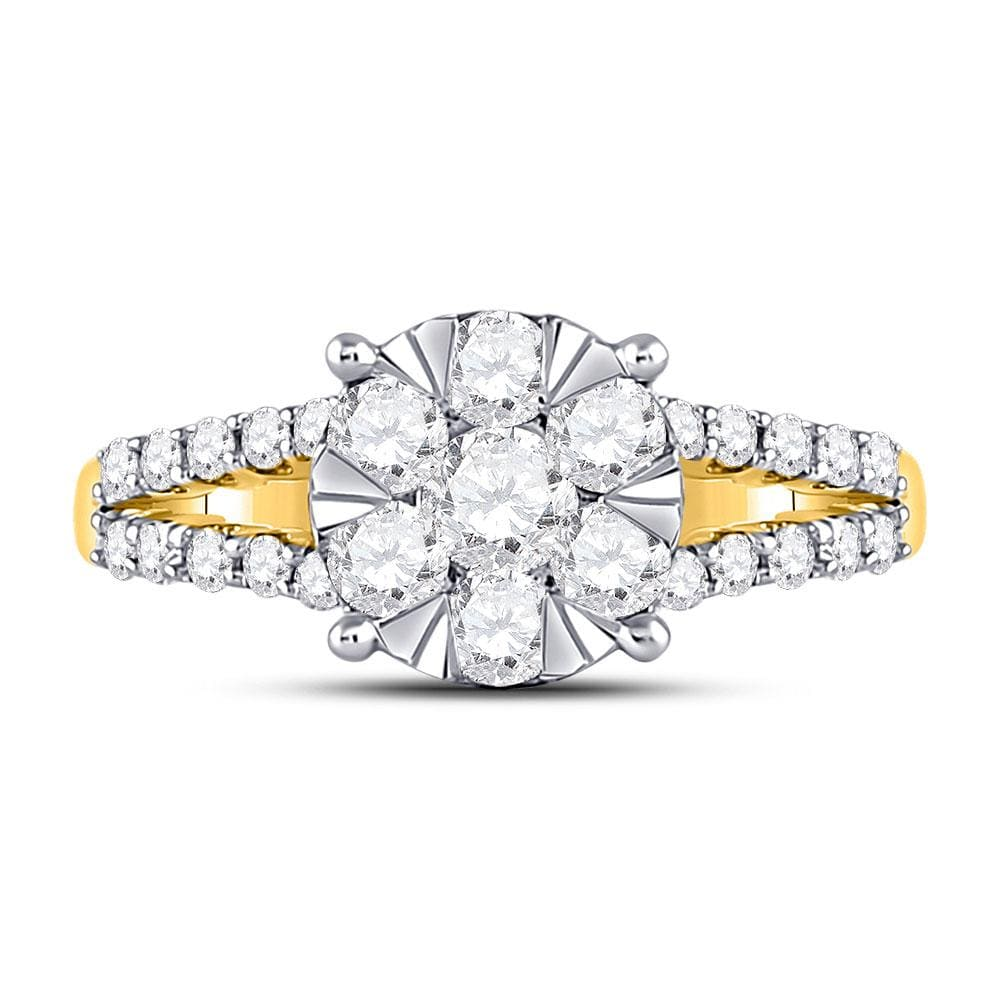 14kt Yellow Gold Womens Round Diamond Flower Cluster Ring 1 Cttw