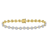 14kt Yellow Gold Womens Round Diamond Cluster Tennis Bracelet 2.00 Cttw