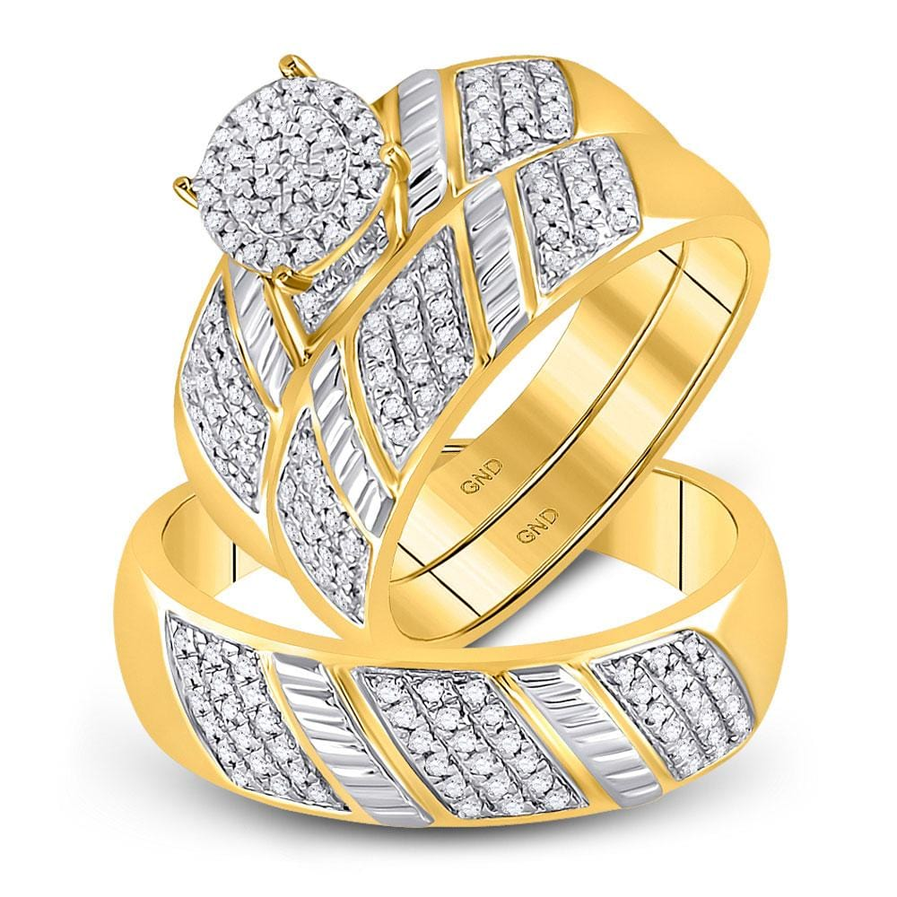 10kt Yellow Gold His & Hers Round Diamond Cluster Matching Bridal Wedding Ring Band Set 1/2 Cttw