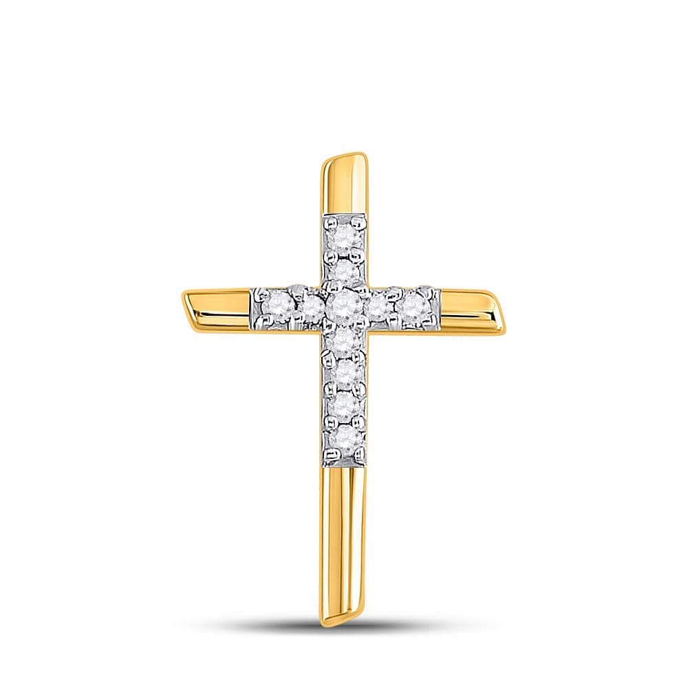 10kt Yellow Gold Womens Round Diamond Cross Pendant 1/12 Cttw