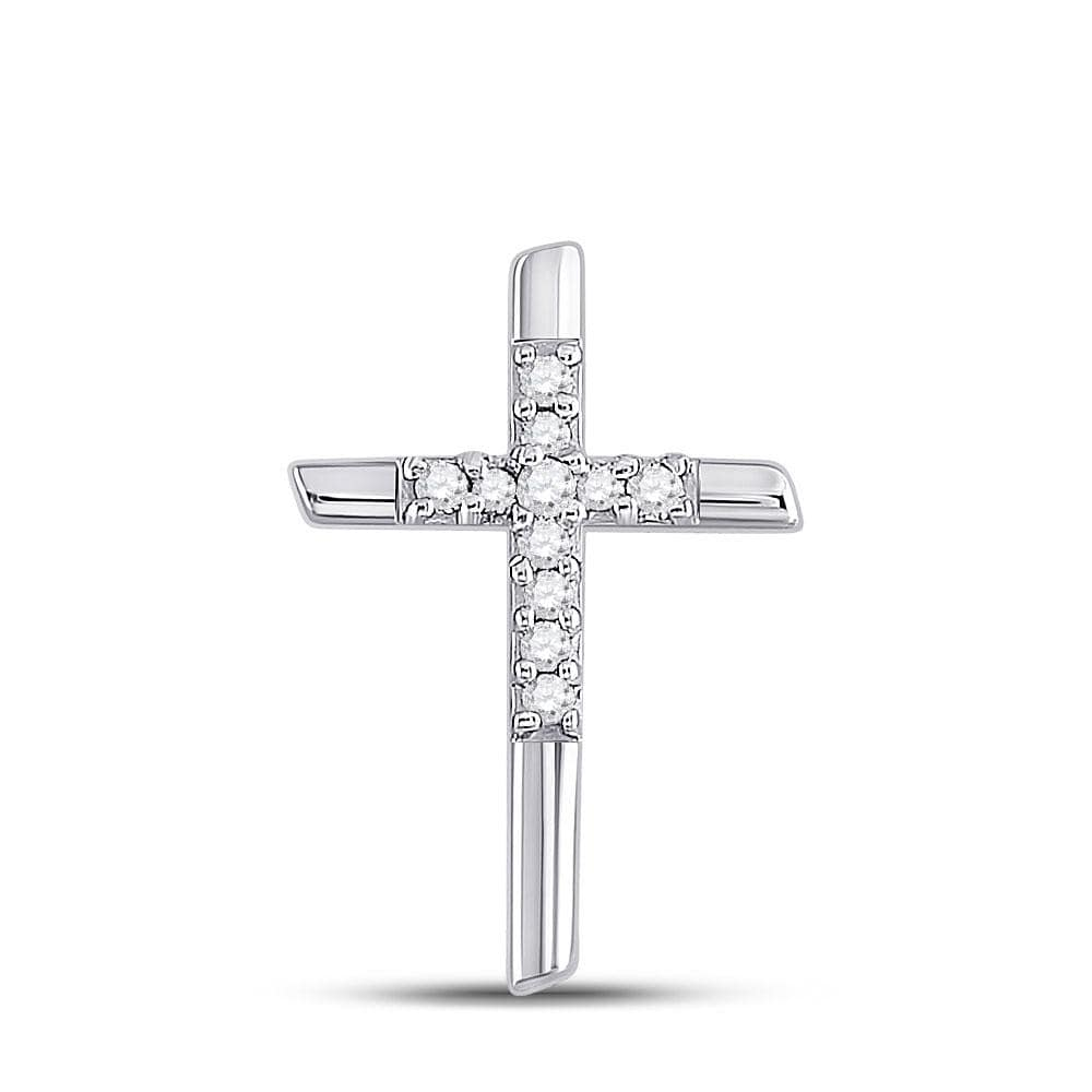10kt White Gold Womens Round Diamond Cross Pendant 1/12 Cttw