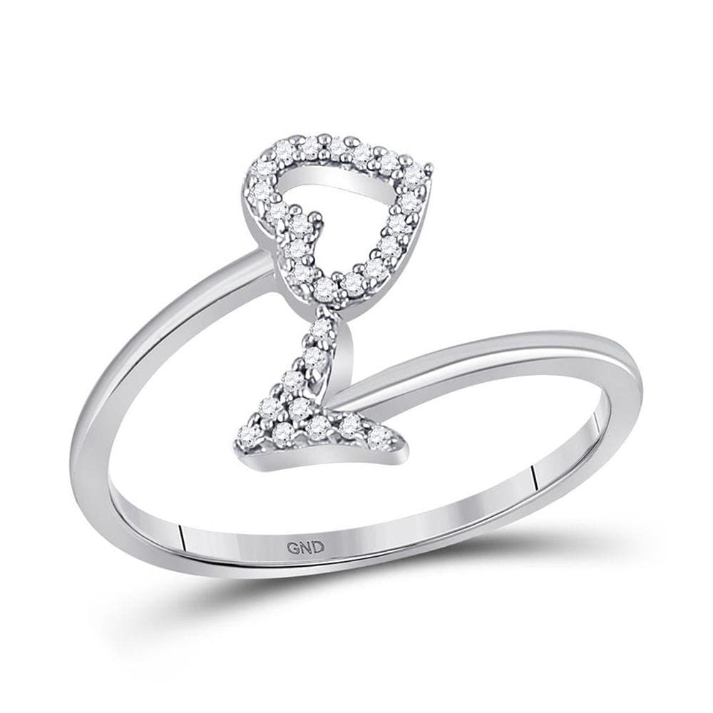 10kt White Gold Womens Round Diamond Heart Arrow Band Ring 1/10 Cttw