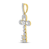 10kt Yellow Gold Mens Round Diamond Key Charm Pendant 1-1/4 Cttw
