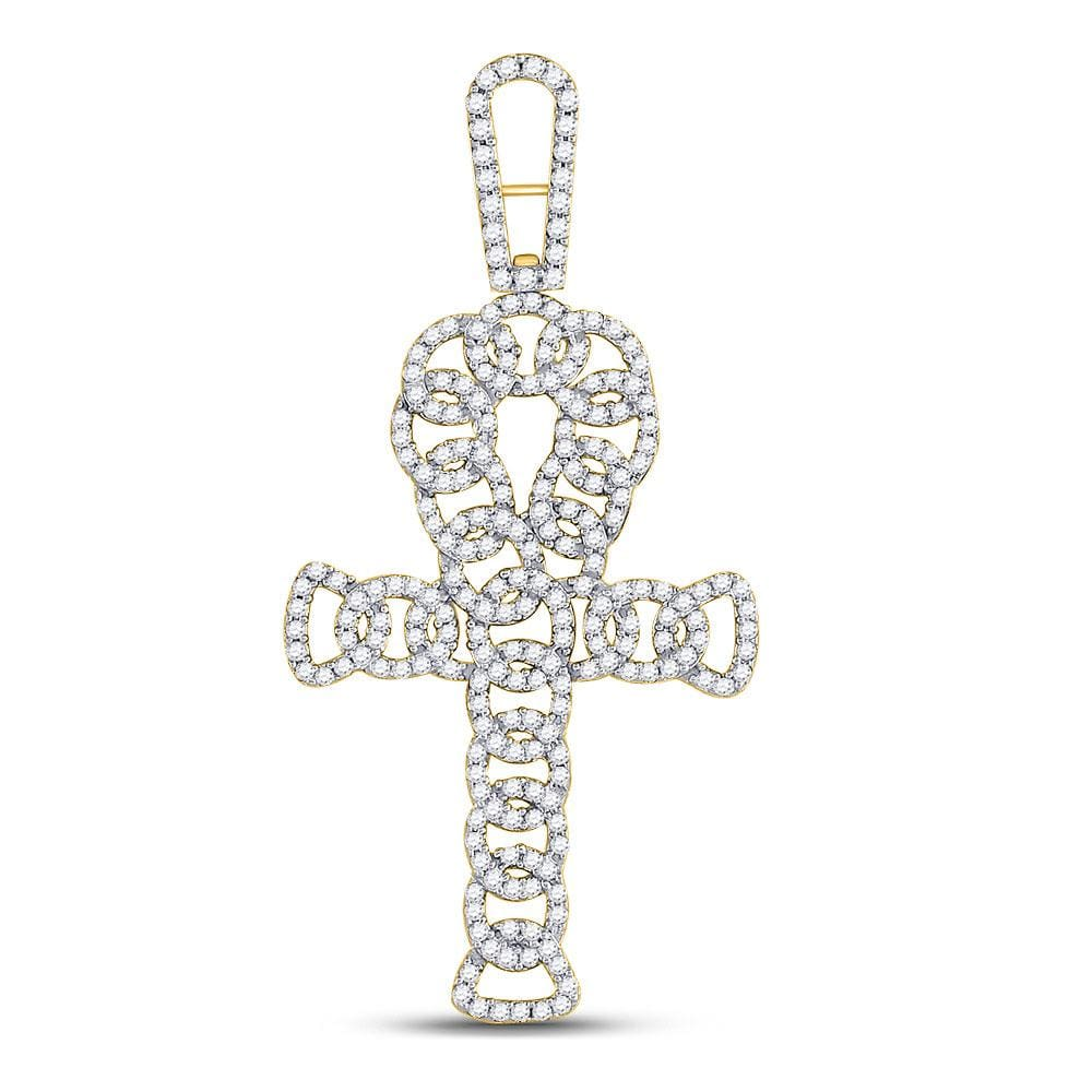 10kt Yellow Gold Mens Round Diamond Ankh Cross Charm Pendant 7/8 Cttw