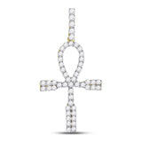10kt Yellow Gold Mens Round Diamond Ankh Cross Charm Pendant 1.00 Cttw
