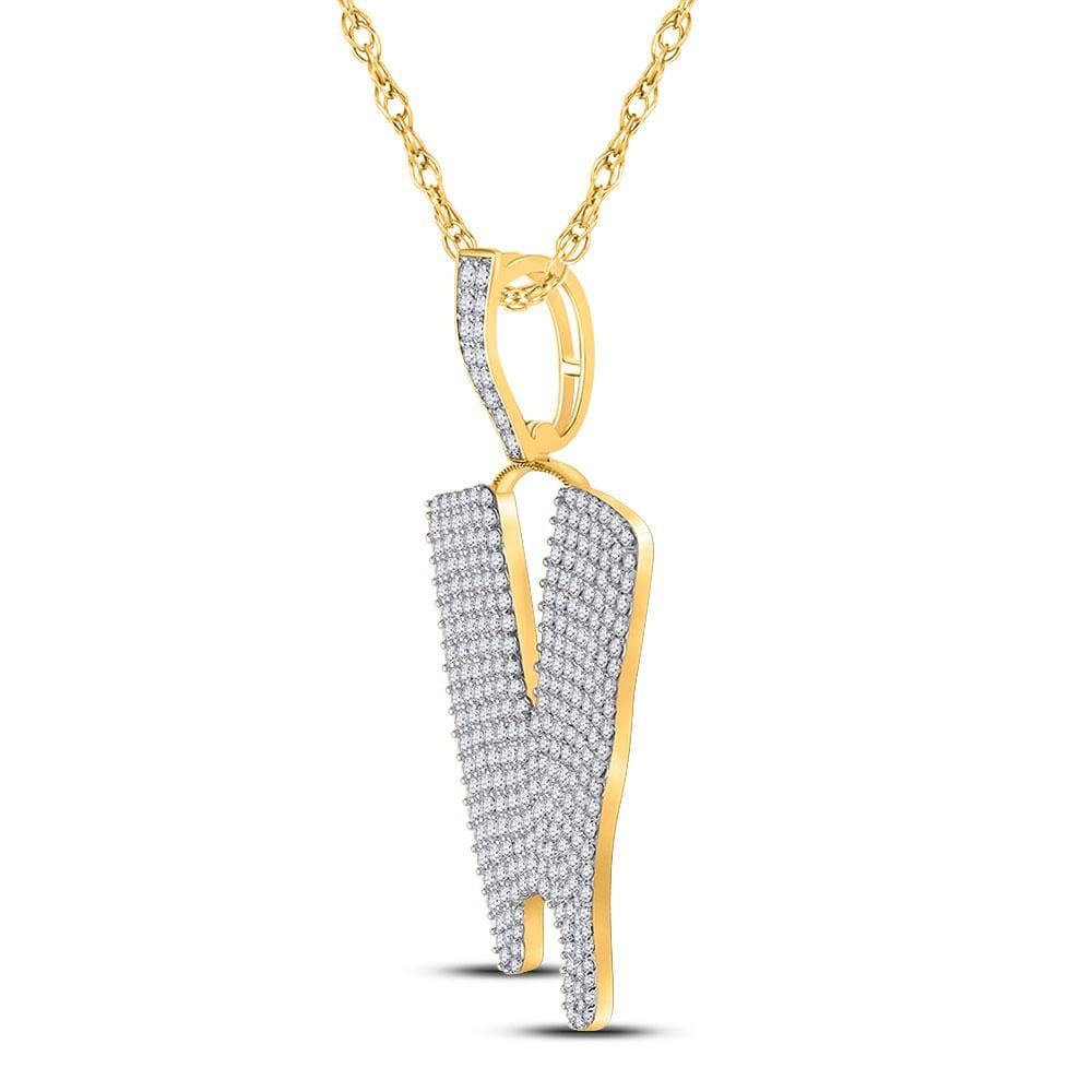 10kt Yellow Gold Mens Round Diamond Dripping V Letter Charm Pendant 2-7/8 Cttw