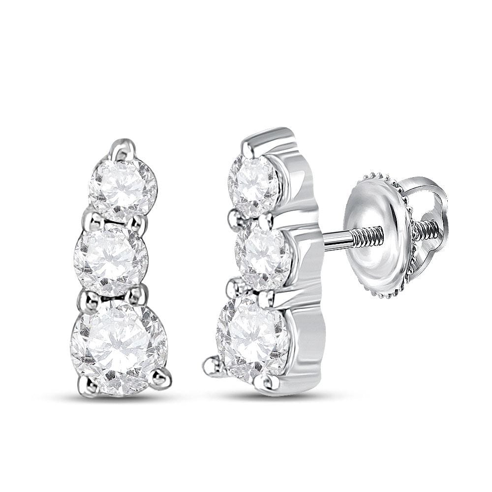 10kt White Gold Womens Round Diamond 3-stone Earrings 1/4 Cttw