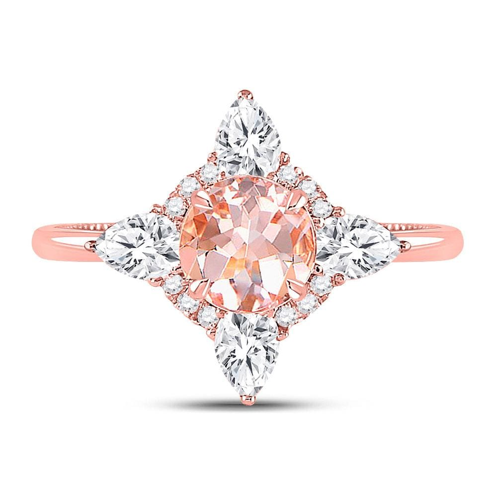 14kt Rose Gold Womens Round Morganite Halo Bridal Wedding Engagement Ring 1-3/4 Cttw