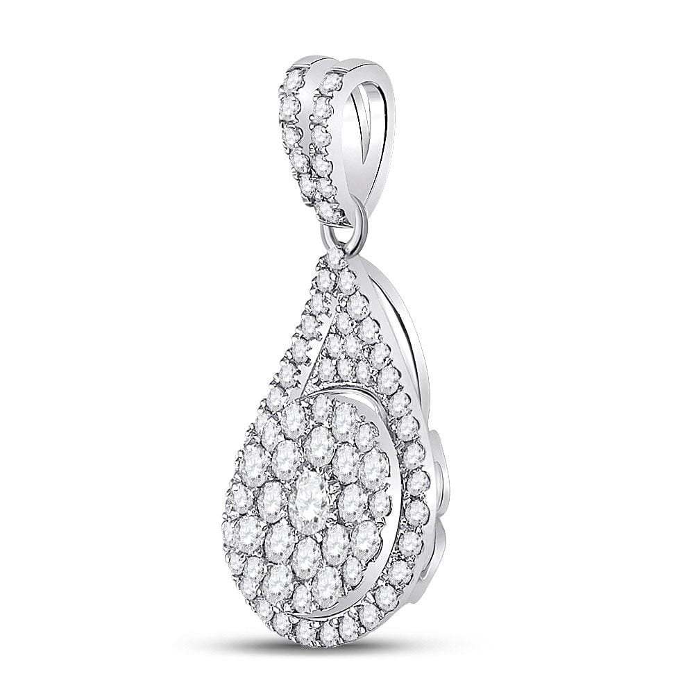 14kt White Gold Womens Round Diamond Teardrop Cluster Pendant 1 Cttw