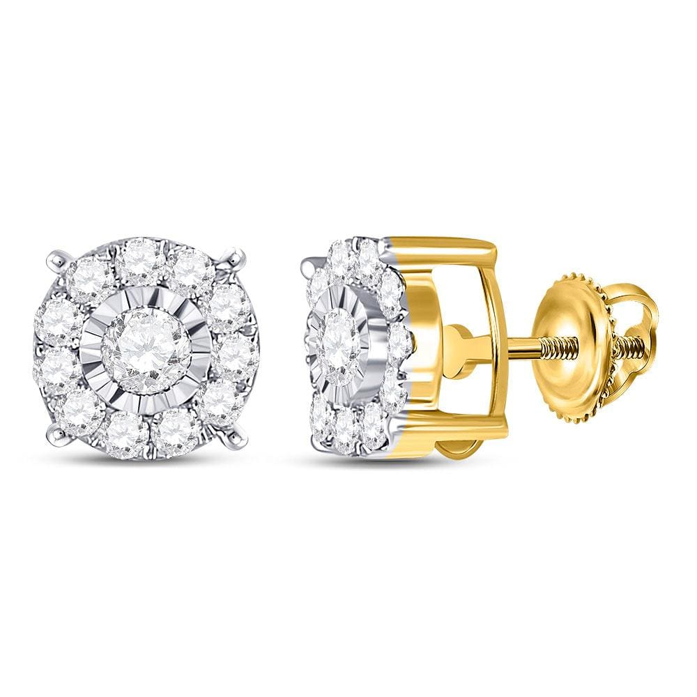 10kt Yellow Gold Womens Round Diamond Stud Earrings 1/2 Cttw