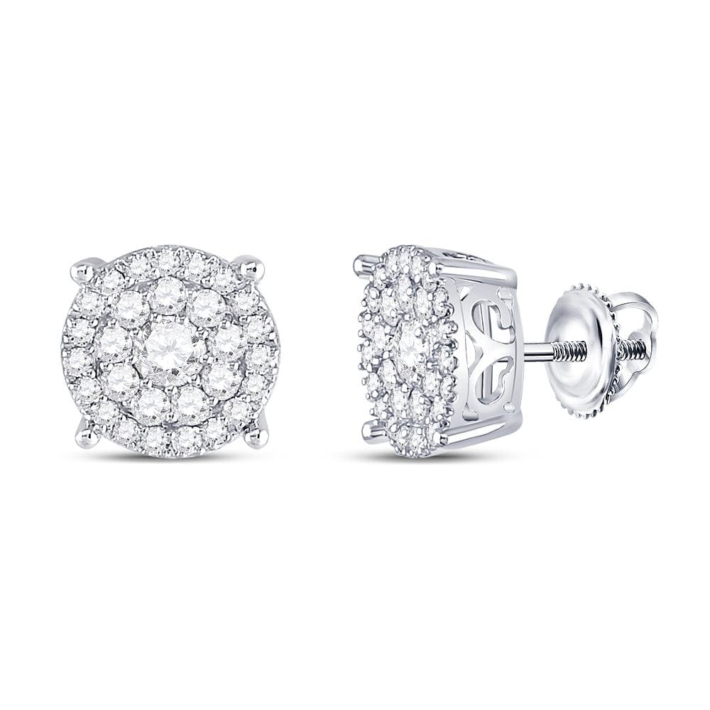 10kt White Gold Womens Round Diamond Cluster Earrings 1.00 Cttw