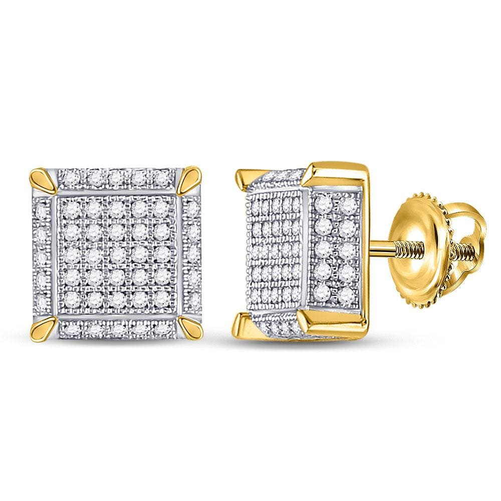10kt Yellow Gold Mens Round Diamond 3D Square Cluster Earrings 1/2 Cttw