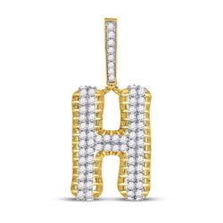 10kt Yellow Gold Mens Round Diamond Letter H Charm Pendant 1-1/2 Cttw