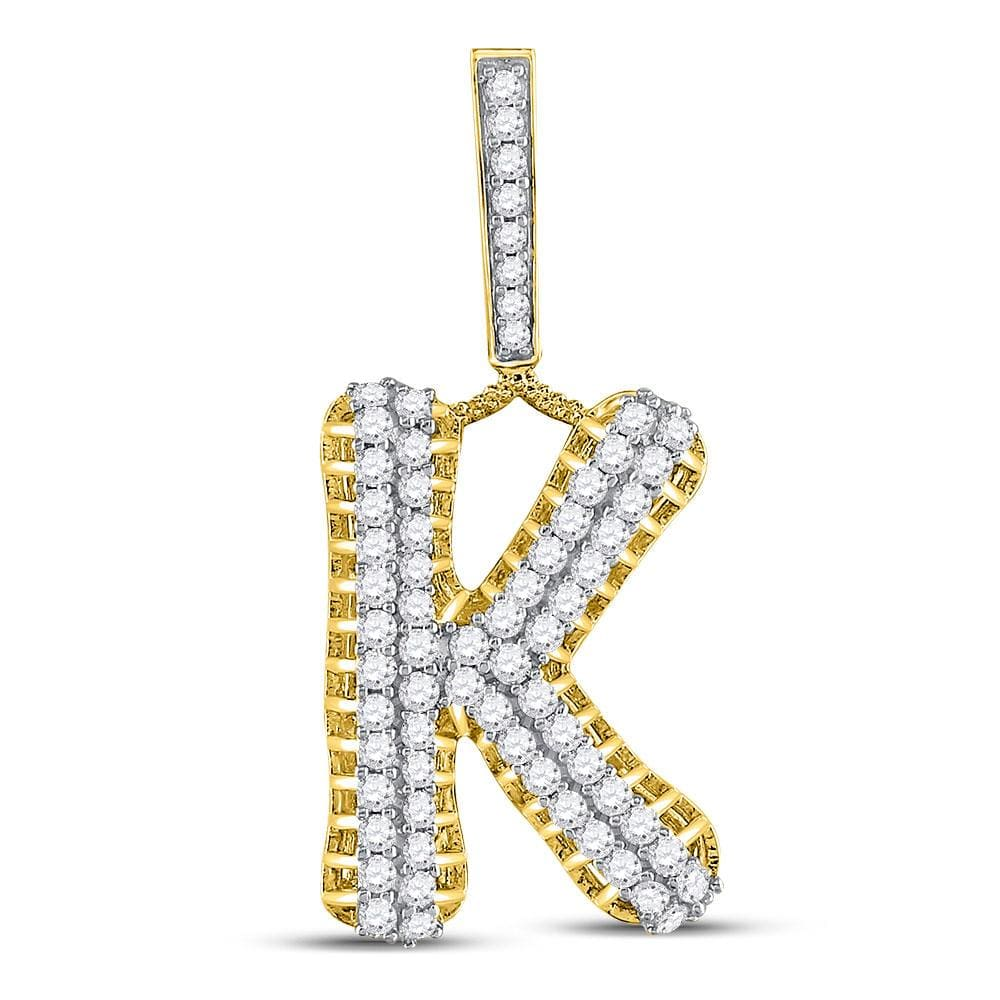 10kt Yellow Gold Mens Round Diamond Letter K Charm Pendant 1-1/3 Cttw