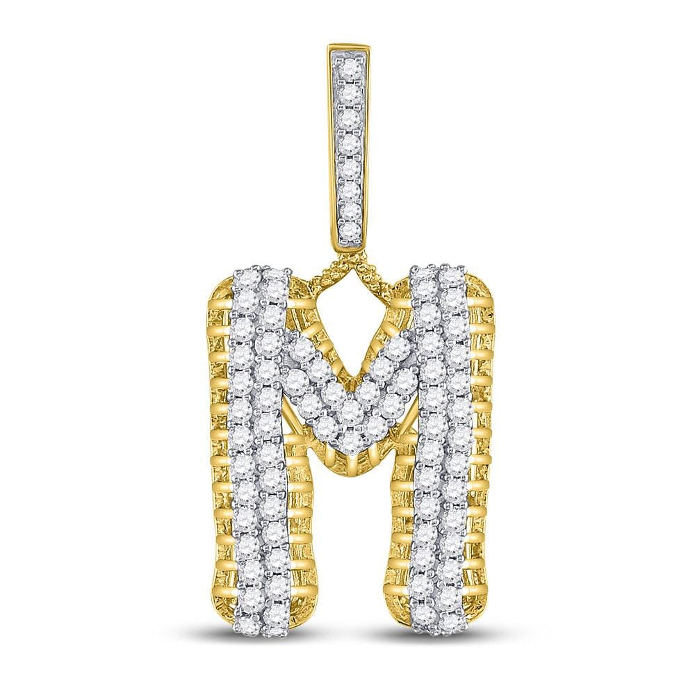 10kt Yellow Gold Mens Round Diamond Letter M Charm Pendant 1-1/2 Cttw