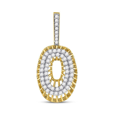 10kt Yellow Gold Mens Round Diamond Letter O Charm Pendant 1.00 Cttw
