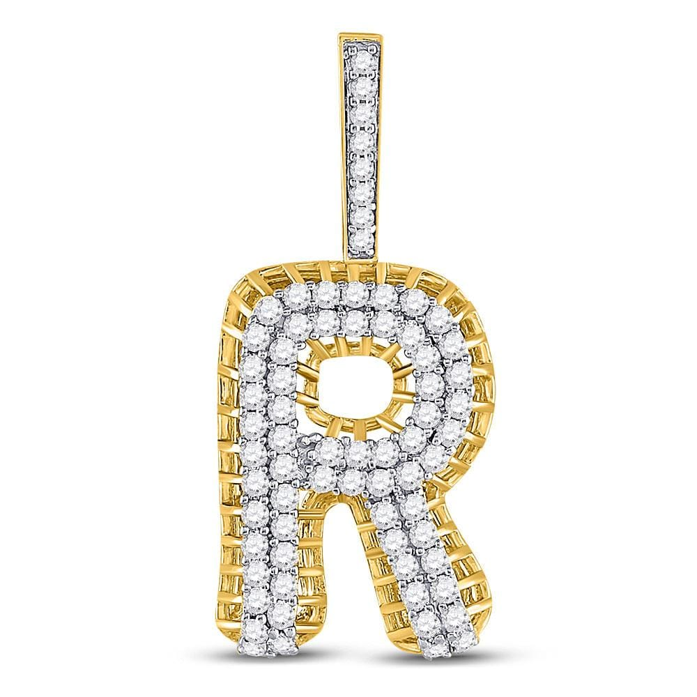 10kt Yellow Gold Mens Round Diamond Letter R Charm Pendant 1-3/8 Cttw