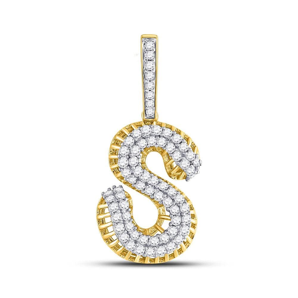 10kt Yellow Gold Mens Round Diamond Letter S Charm Pendant 1-1/3 Cttw