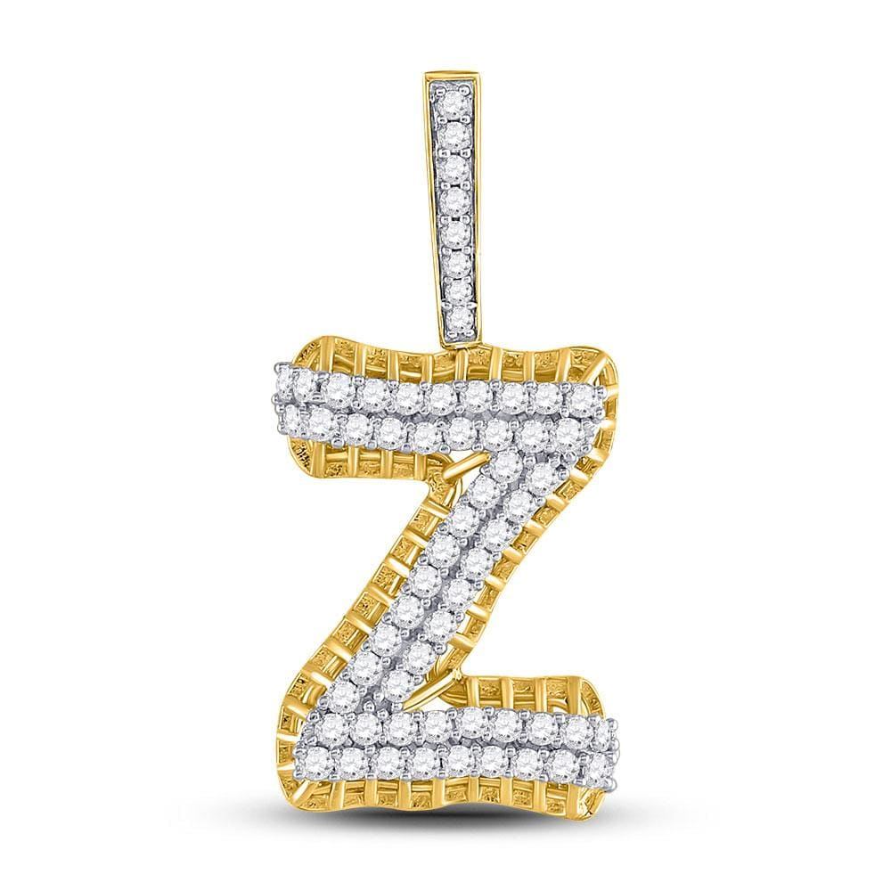 10kt Yellow Gold Mens Round Diamond Letter Z Charm Pendant 1-1/5 Cttw