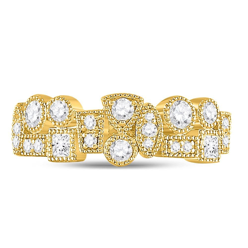 10k Yellow Gold Womens Round Diamond Tear Dot Square Milgrain Band Ring 5/8 Cttw