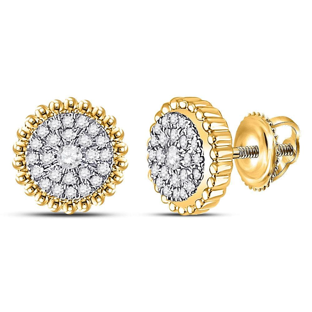 10kt Yellow Gold Womens Round Diamond Beaded Halo Cluster Earrings 1/4 Cttw