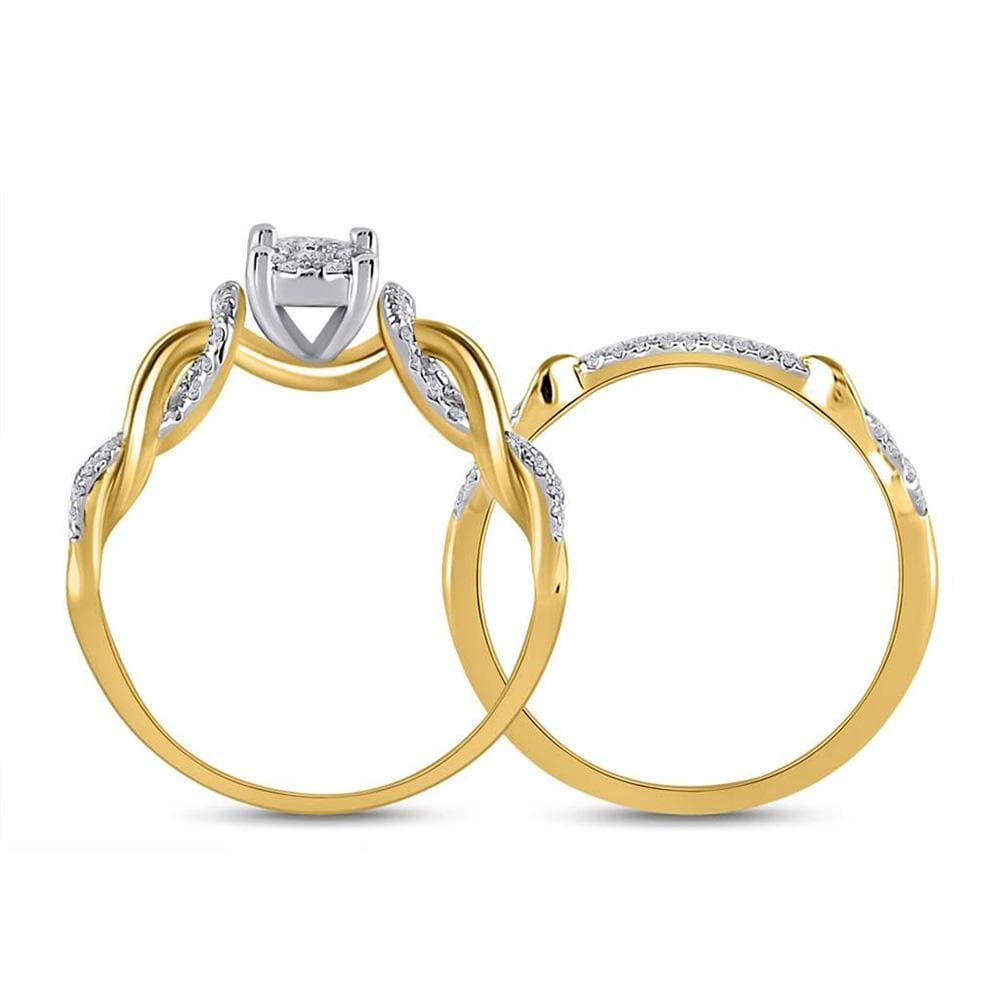 10kt Yellow Gold Round Diamond Bridal Wedding Ring Band Set 1/2 Cttw