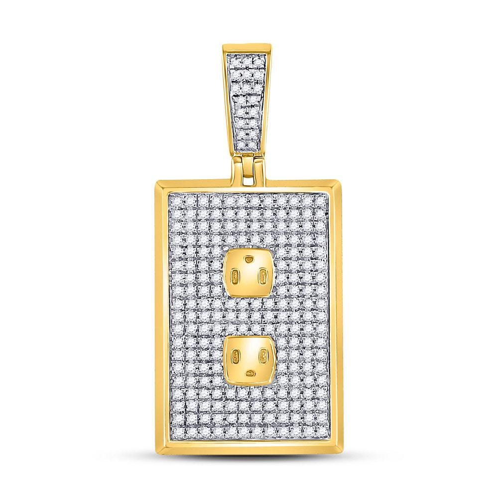 10kt Yellow Gold Mens Round Diamond Plug Power Outlet Charm Pendant 5/8 Cttw