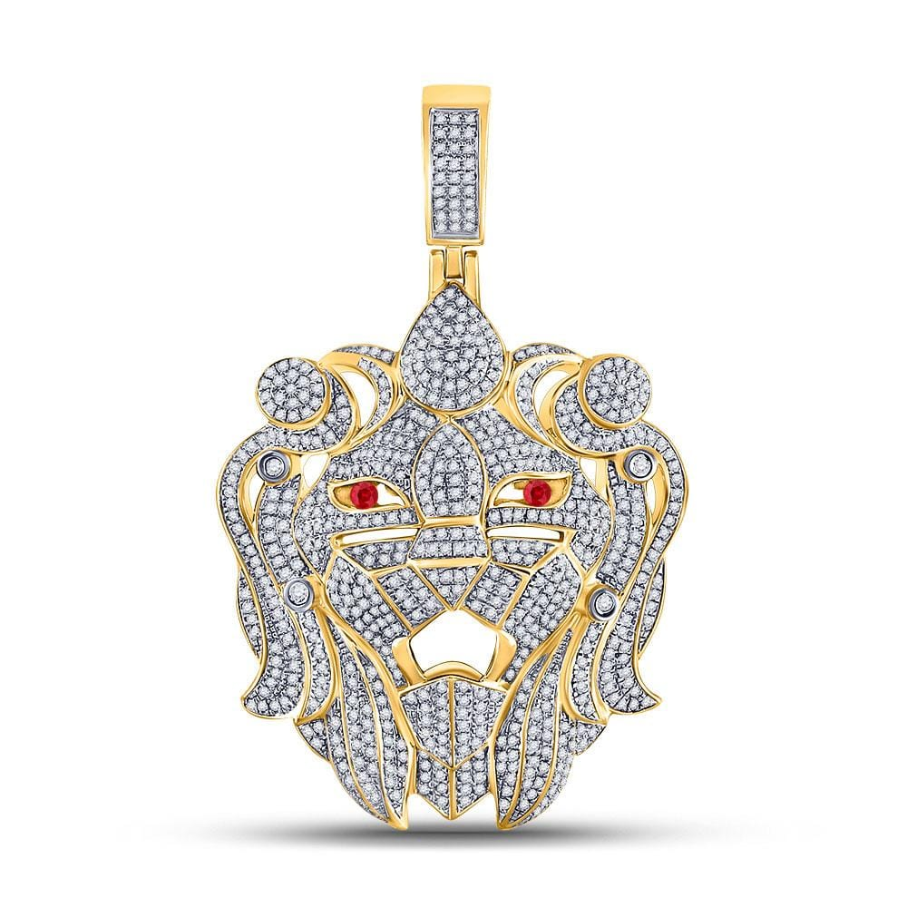 10kt Yellow Gold Mens Round Diamond Lion Head Charm Pendant 1-7/8 Cttw