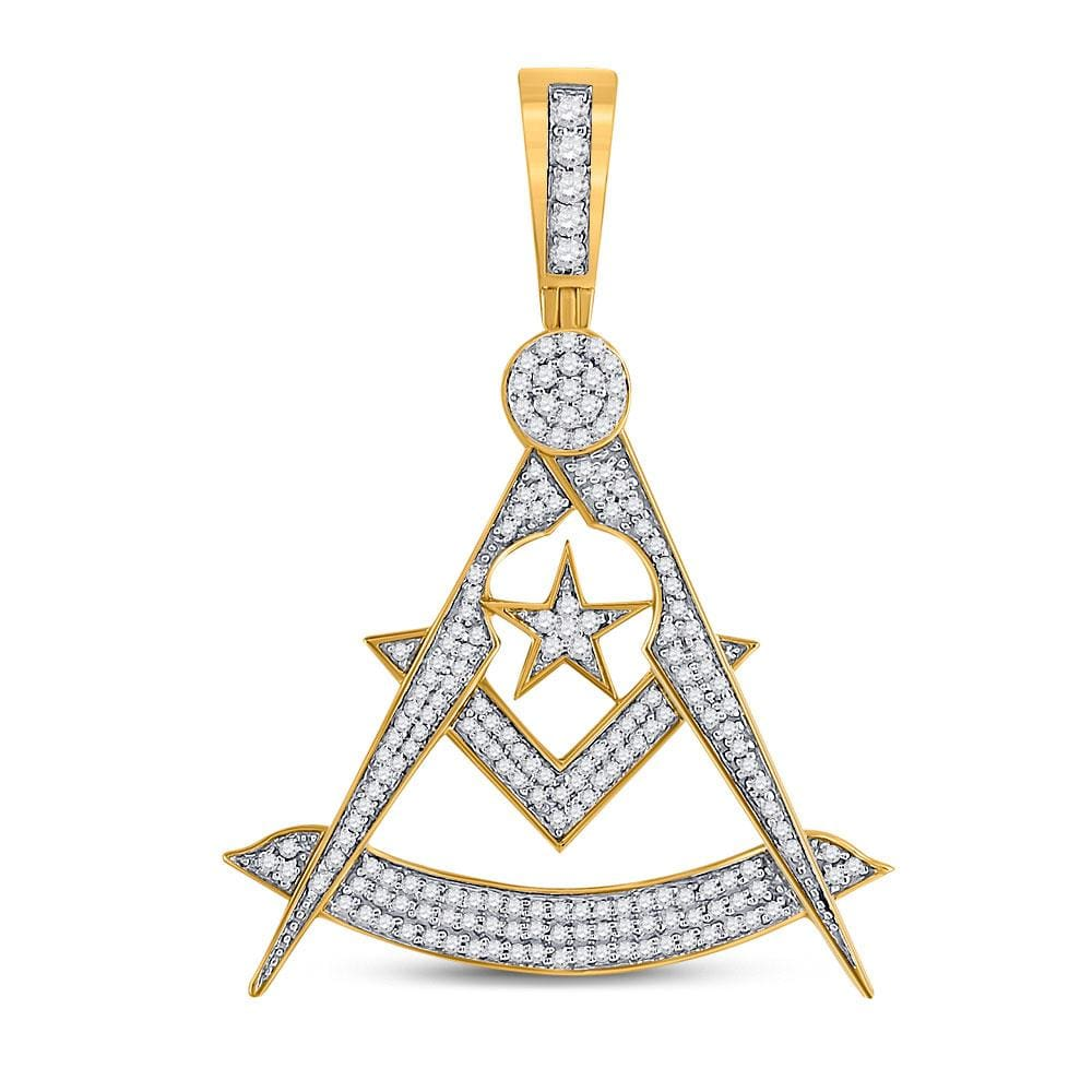 10kt Yellow Gold Mens Round Diamond Freemason Square Compass Charm Pendant 7/8 Cttw