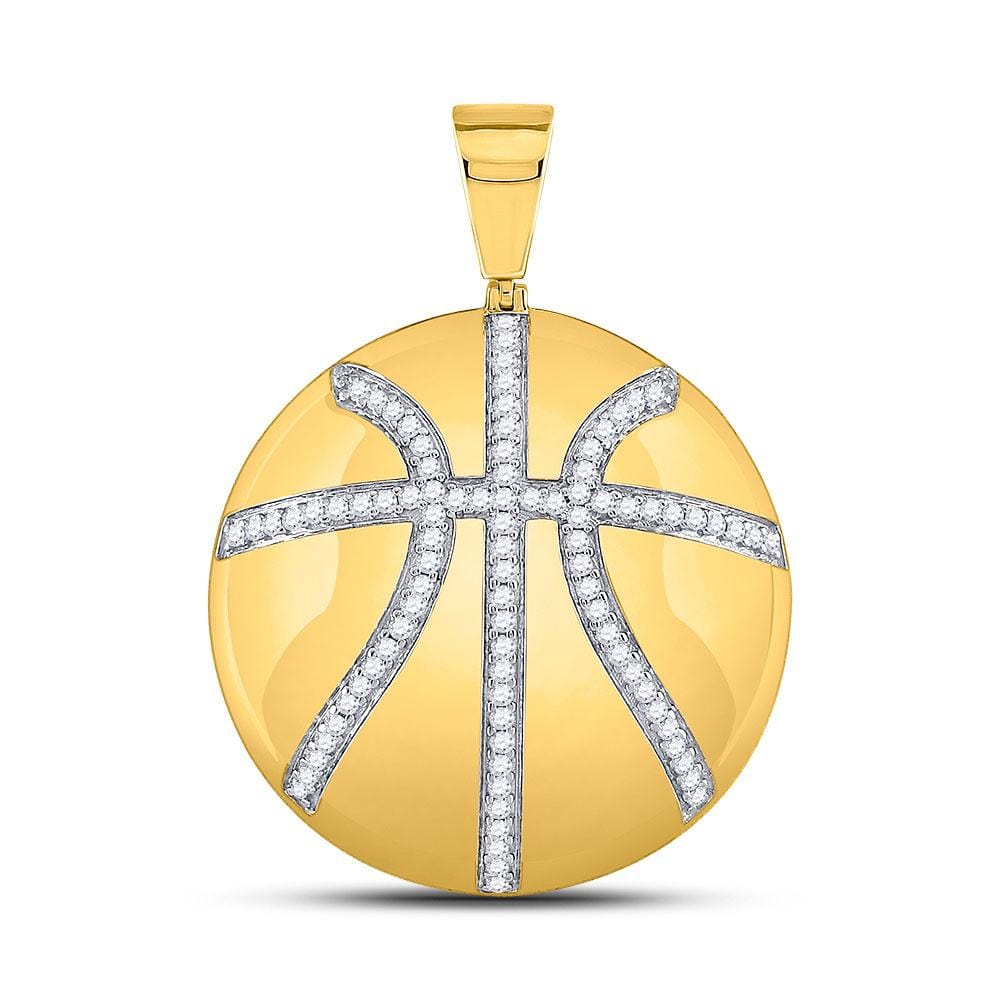 10kt Yellow Gold Mens Round Diamond Basketball Sports Charm Pendant 7/8 Cttw