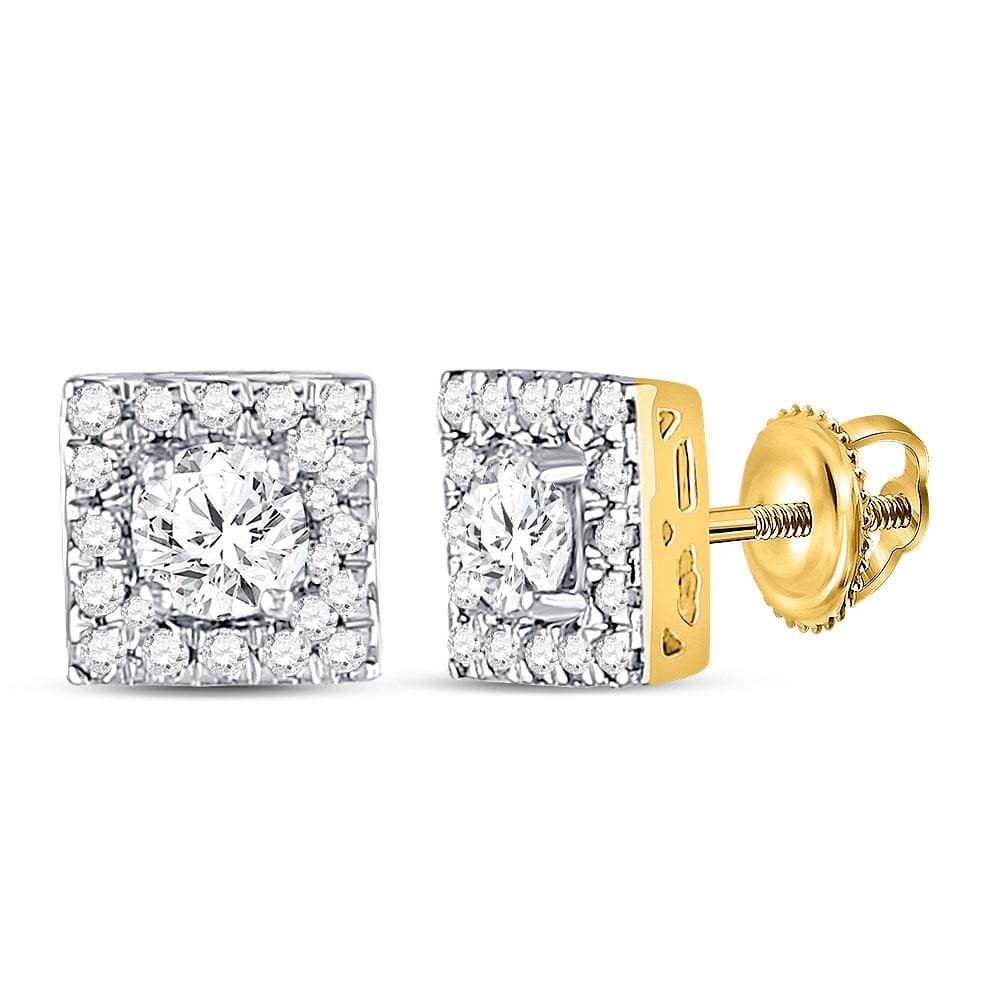 10kt Yellow Gold Womens Round Diamond Square Frame Stud Earrings 3/4 Cttw