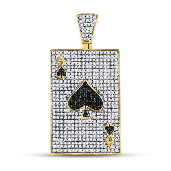 10kt Yellow Gold Mens Round Black Color Enhanced Diamond Ace of Spades Card Charm Pendant 1-3/8 Cttw