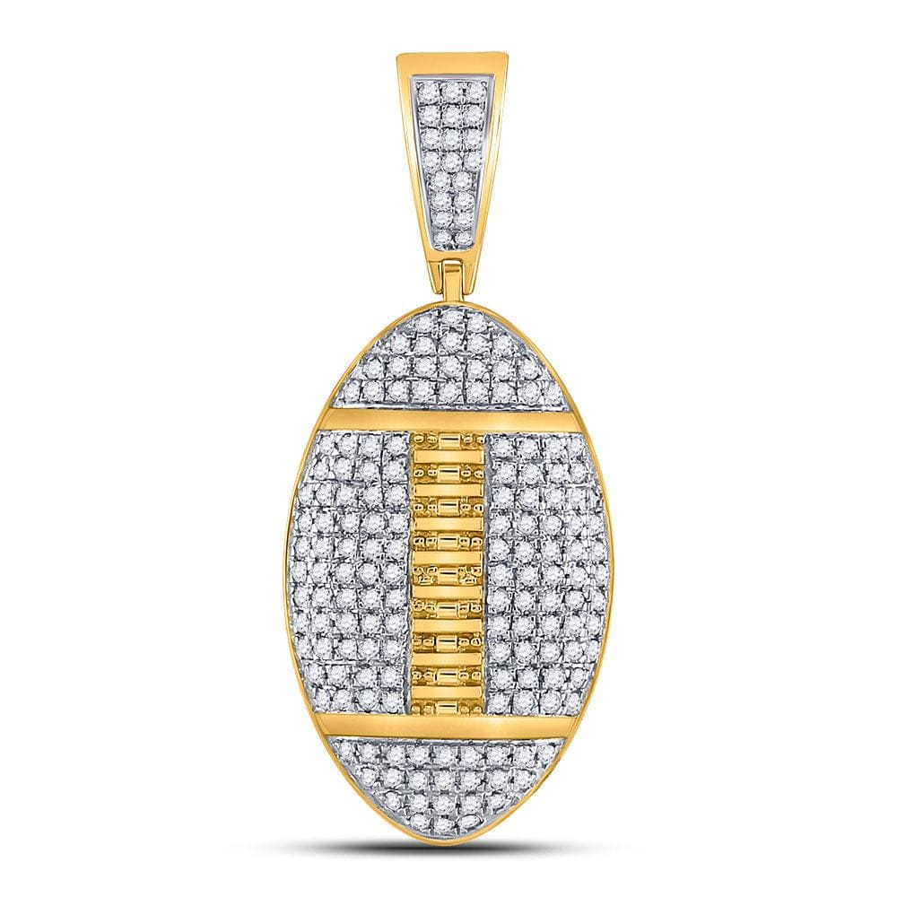 10kt Yellow Gold Mens Round Diamond Football Charm Pendant 1-1/3 Cttw