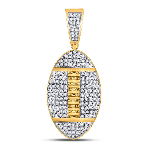 10kt Yellow Gold Mens Round Diamond Football Charm Pendant 1-1/4 Cttw