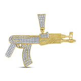 10kt Yellow Gold Mens Round Diamond Rifle Gun Weapon Charm Pendant 7/8 Cttw