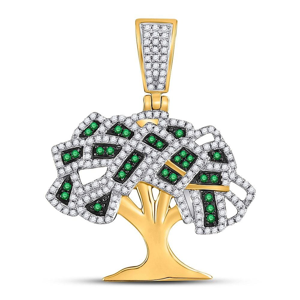 10kt Yellow Gold Mens Round Green Color Enhanced Diamond Money Tree Charm Pendant 3/4 Cttw