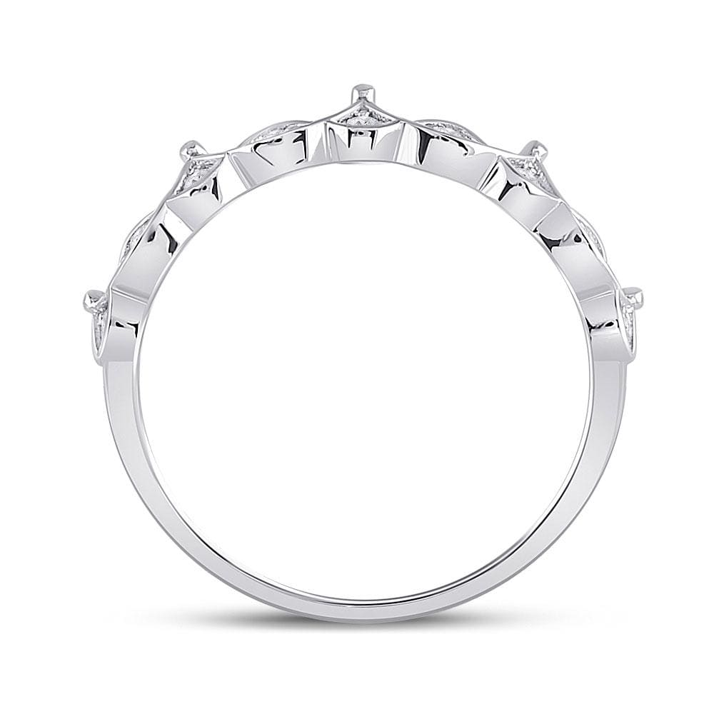 10kt White Gold Womens Round Diamond Crown Stackable Band Ring 1/5 Cttw